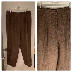 J. Jill Wool Silk Brown Tweed Trouser Sz 20